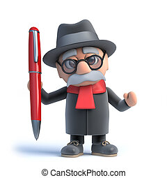 3d Old man has a pen - 3d render of an old man holding a pen