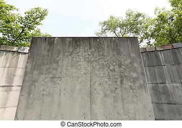 grunge, de, concreto, paredes,
