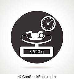 Weighing newborn black round vector icon - Single flat black...