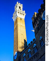 Tower Torre del Mangia SienaItaly - Tower Torre del Mangia...