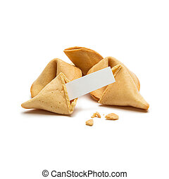 brocken fortune cookie with a massage note - A group of...