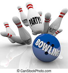Bowling Party Ball Strikes Pins Fun Event Celebration -...
