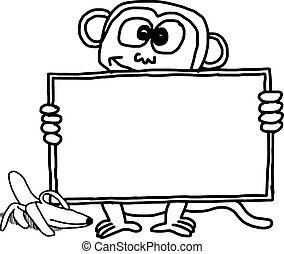 doodles of monkey holding blank sign