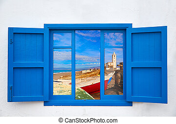 Almeria window of Cabo de Gata Salinas church - Almeria view...