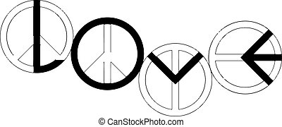 vector of peace sign making the word LOVE