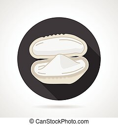 Mussel black round vector icon - Single black round flat...