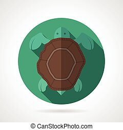 Sea turtle green round vector icon