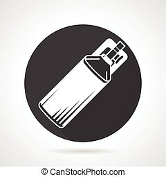 Co2 cylinder black round vector icon - Single black round...