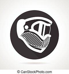 Extreme helmet black round vector icon