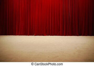 Red draped theater stage curtains - retro and elegant red...