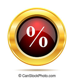 Percent icon Internet button on white background