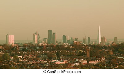 City of London long shot - London cityscape in the...