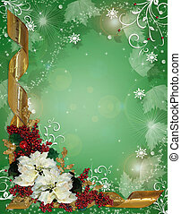Christmas border ribbons and poinsettias - Image and...