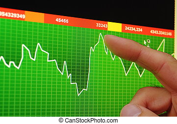 stock market concept with business data diagram on computer...