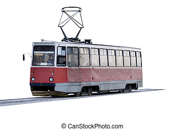Tram - Isolated object on a white background.
