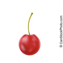 Single Realistic Cherry Isolated on White Background