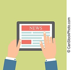 Businessman Reading Business News on Tablet PC