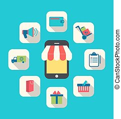 Concept of Online Shop, E-commerce, Colorful Simple Icons