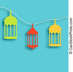 Colorful Arabic lamps with shadows for Ramadan Kareem