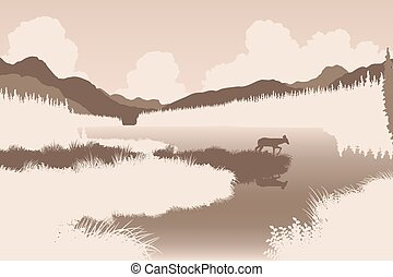 River deer - EPS8 editable vector illustration of a deer in...