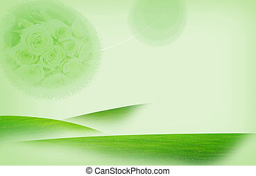 flower - illustration drawing of beautiful green flower in...