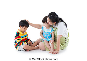 mother with two little asian (thai) children (full body)....