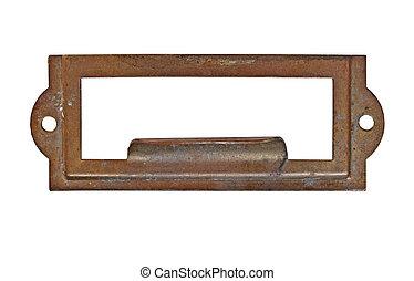 vintage brass name plate - vintage heavy patina brass label...