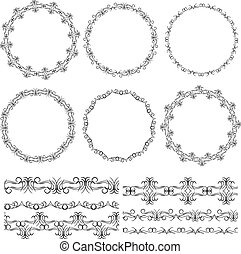 Vintage floral elements, black on white background. template for your design. Used pattern brushes included.  Seamless pattern for frames and borders. Vector