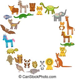 collection Funny cartoon Animals card template. circle on White background, template for your design. Vector