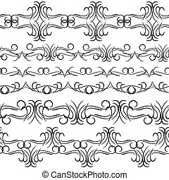 Vintage border design elements, black on white background.  Seamless pattern for frames and borders. Used pattern brushes included. Vector