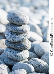 Zen - Pile of pebble Stones with back light