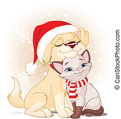 Christmas friends - Cute Dog with Santa's hat and Cat with...
