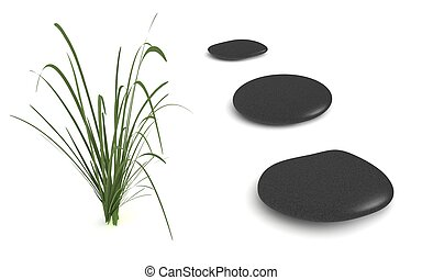 Three Black Pebbles with Grass - digital render of three...