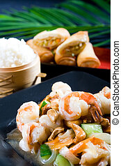 prawn dish with rice and dumpling - a chinese dish with...