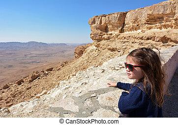 Makhtesh Ramon - Ramon Crater - Israel - Little Israeli girl...