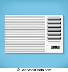 Air conditioner in a blue wall, with background