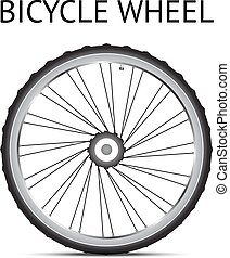 Bicycle wheel - Black and white bicycle wheel with light...