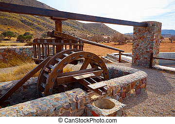Almeria in Cabo de Gata Rodalquilar waterwheel traditional...