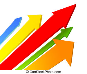 arrows - Colour arrows on the white isolated background