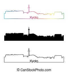 Kyoto skyline linear style with rainbow in editable vector...