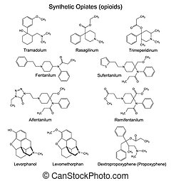 Synthetic opiates - Structural chemical formulas of main...