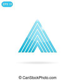 Delta letter logo template, 3d flat illustration, isolated,...