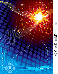 Technology Space Explosion, vector illustration layers file...