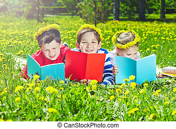 Reading on lawn