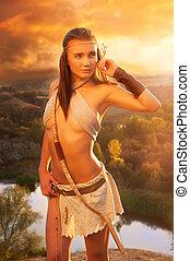 primitivo, mujer, en, el, roca, en, el, sunset., Amazon,...