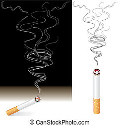 Smoke And Cigarette - Vector illustration of Smoke and...