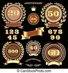set retro signs for the anniversary - set vector retro signs...