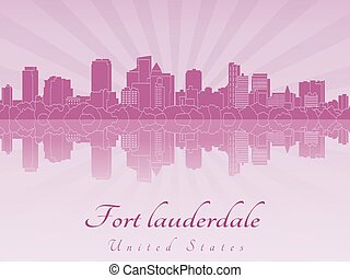Fort Lauderdale skyline in purple radiant orchid in editable...