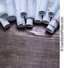 cianotipo, const, de madera, vendimia, Colección, pino,...
