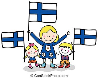 Finland kids and mom